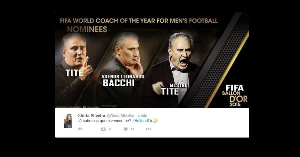 E para os internautas, o prêmio de melhor treinador foi para um brasileiro...Tite