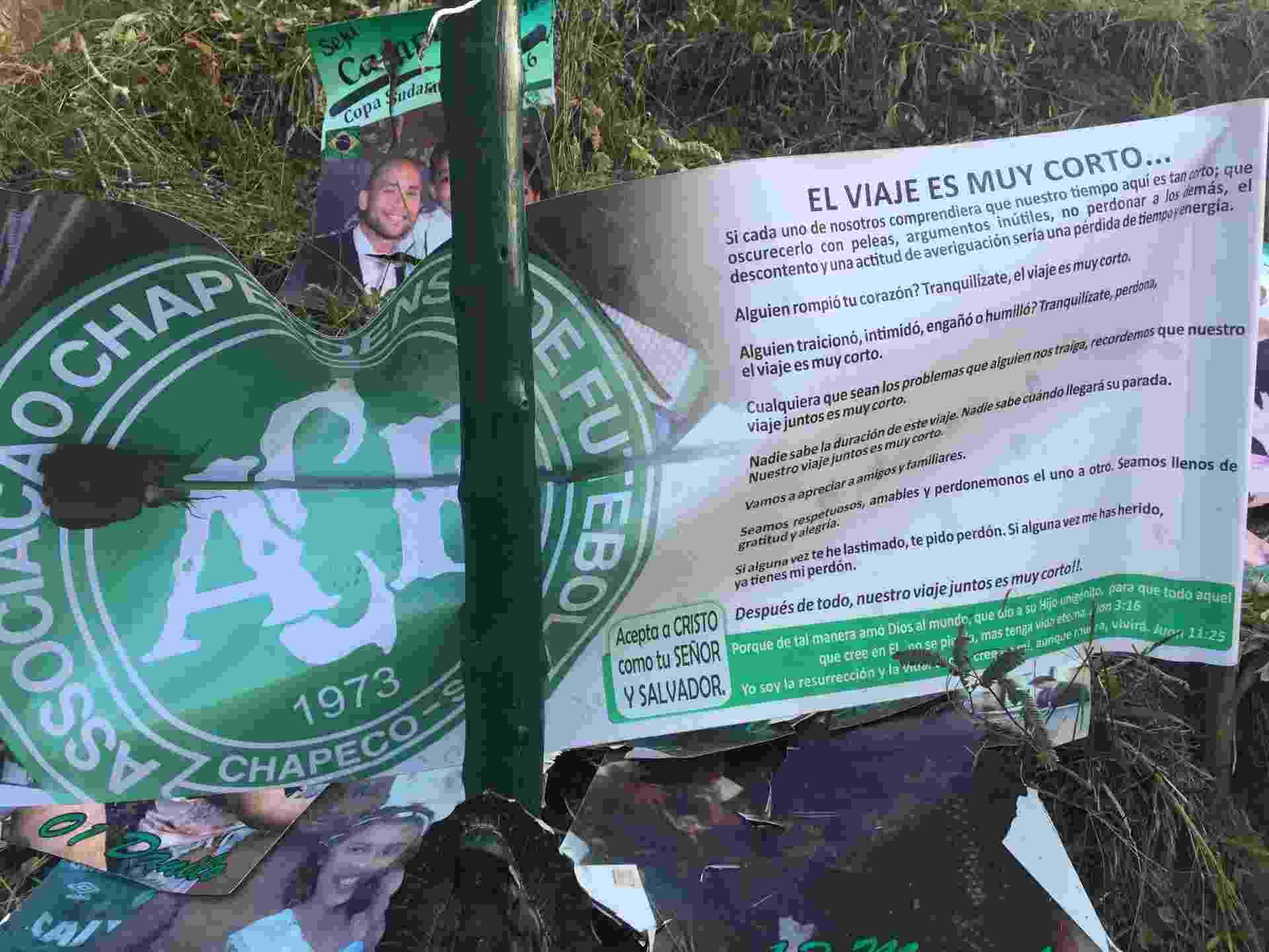 Três meses depois da tragédia que vitimou a delegação da Chapecoense na Colômbia, a reportagem do UOL Esporte revisitou o ponto da queda do avião. Local virou rota de peregrinação - Napoleão de Almeida/Colaboração para o UOL