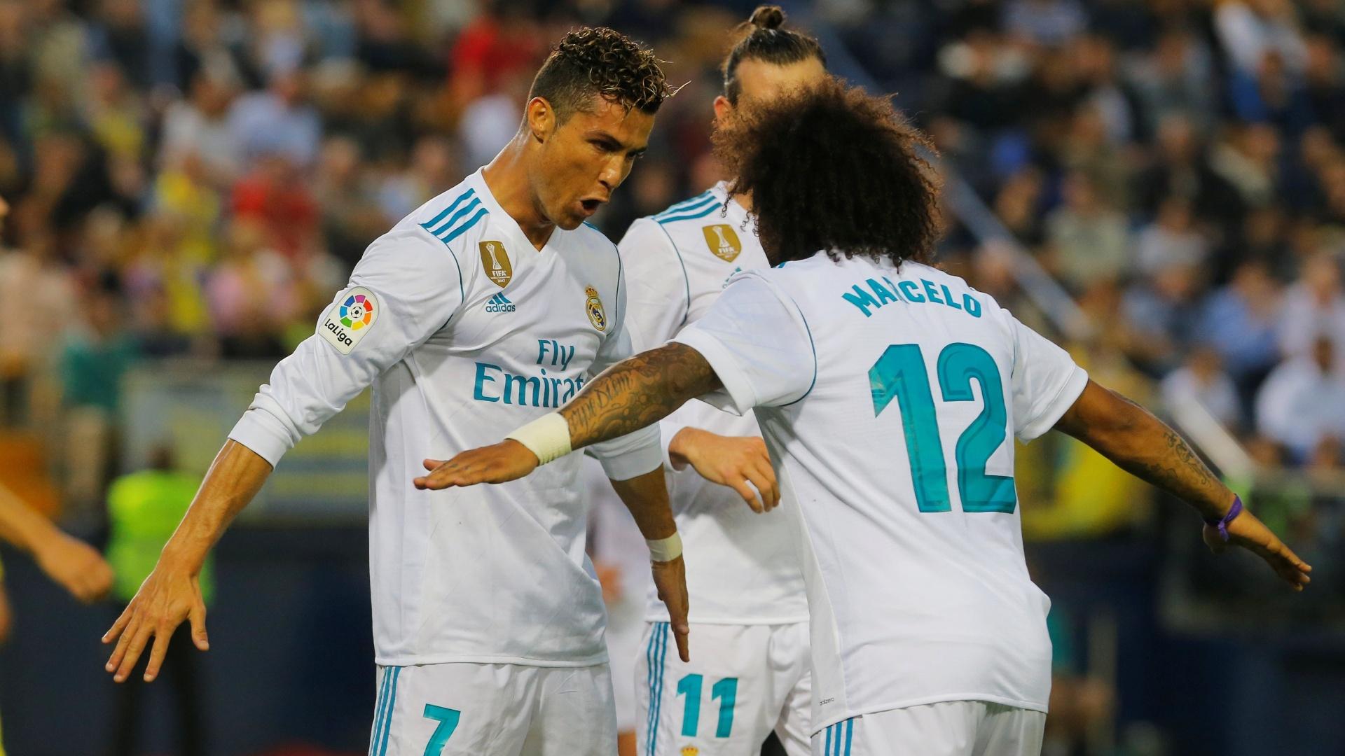 Cristiano Ronaldo e Marcelo comemoram gol do Real Madrid sobre o Villarreal