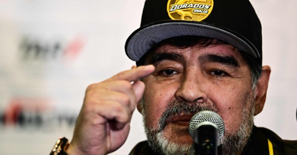 Maradona, técnico do Dorados de Sinaloa, concede entrevista coletiva