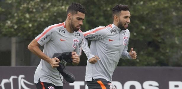 Gabriel e Clayson em treino do Corinthians; jogadores perdem espaço em 2018 - Daniel Augusto Jr/Agência Corinthians