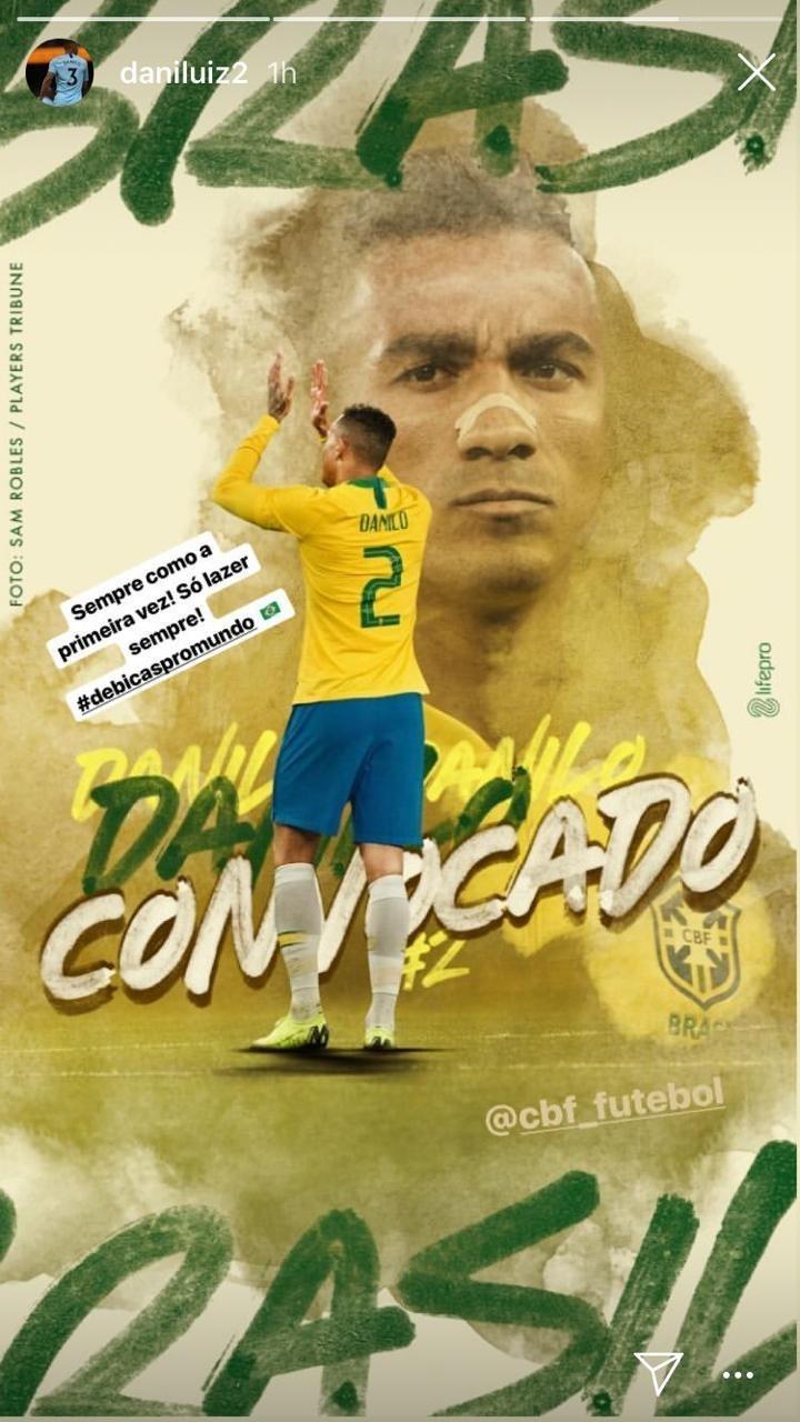 Danilo, do Manchester City, comemora convocação para seleção brasileira