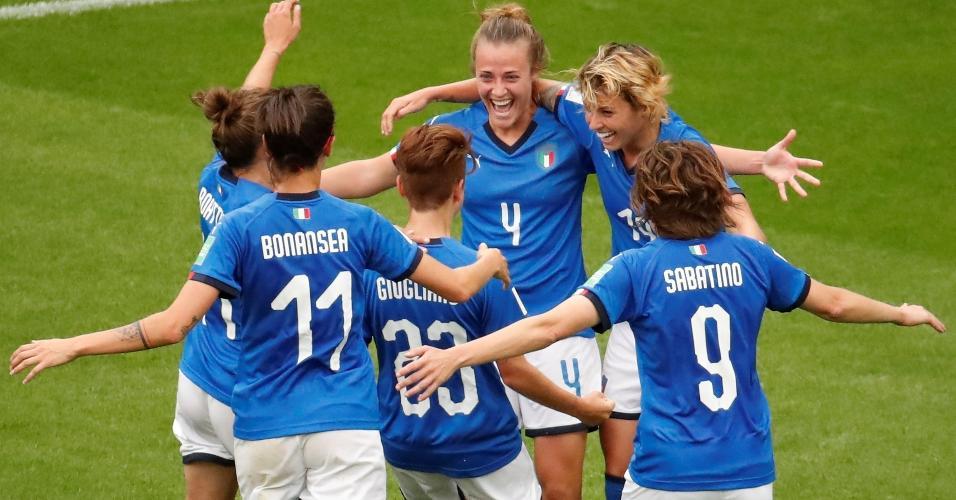 Seleção da Itália comemorando goleada contra Jamaica