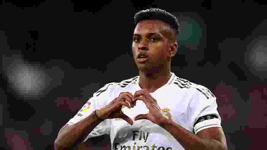 Rodrygo comemora gol do Real Madrid contra o Leganés - OSCAR DEL POZO / AFP