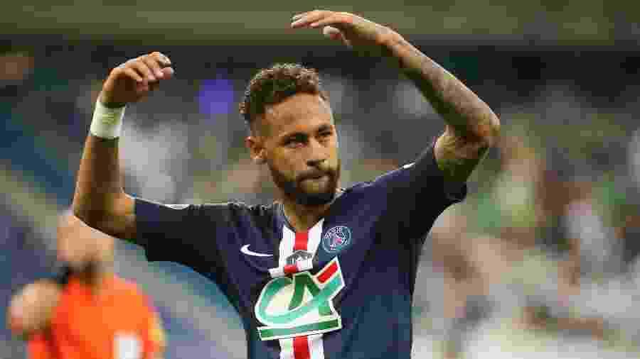 Neymar comemora seu gol contra o Saint-Étienne na decisão da Copa da França - Jean Catuffe/Getty Images
