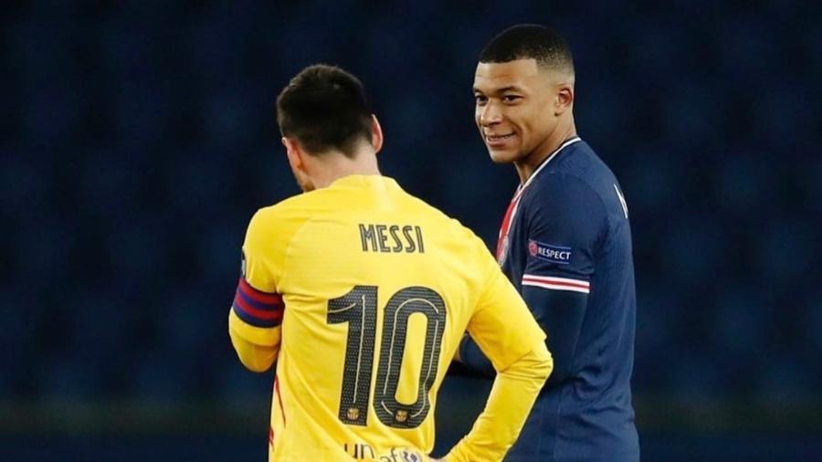 Mbappé e Messi em jogo entre PSG e Barcelona - Reprodução/Instagram