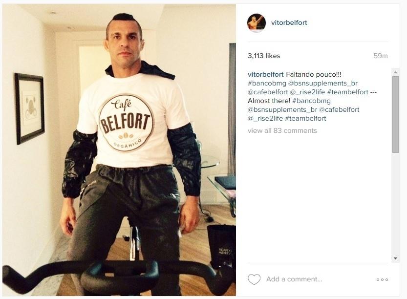 Belfort posta foto durante o processo de corte de peso para o UFC São Paulo