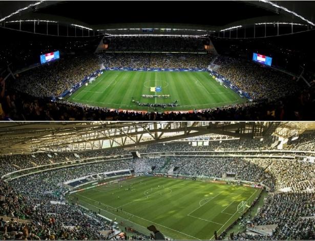 Arena Corinthians e Allianz Parque foram inaugurados em 2014 e têm quatro anos de vida - Paulo Whitaker/Reuters e Eduardo Knapp/Folhapress