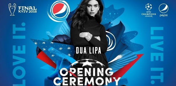 Anúncio do show de Dua Lipa, que será realizado antes da final da Liga dos Campeões