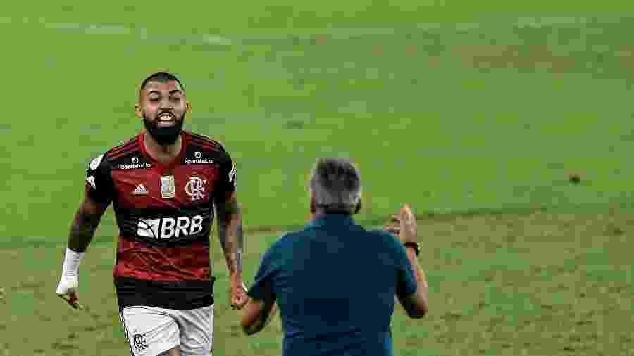 Gabigol comemora gol do Flamengo contra o Fortaleza - Thiago Ribeiro/AGIF