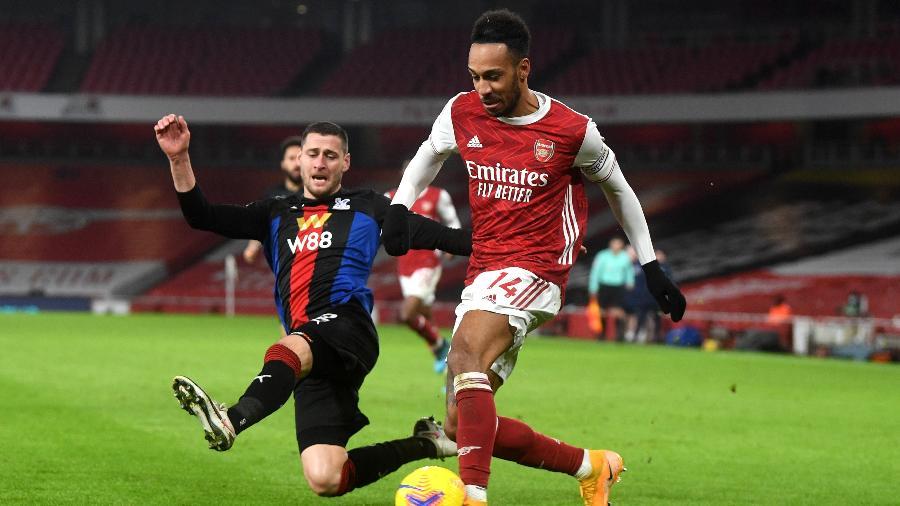 Pierre-Emerick Aubameyang durante a partida entre Arsenal e Crystal Palace - PA Images via Getty Images