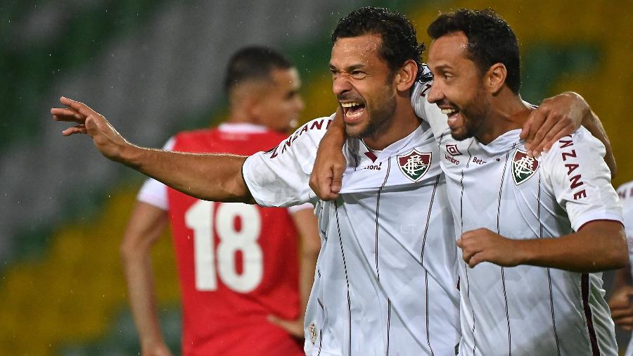 Fred e Nenê comemoram gol do Fluminense contra o Independiente Santa Fe, pela Libertadores - Getty Images