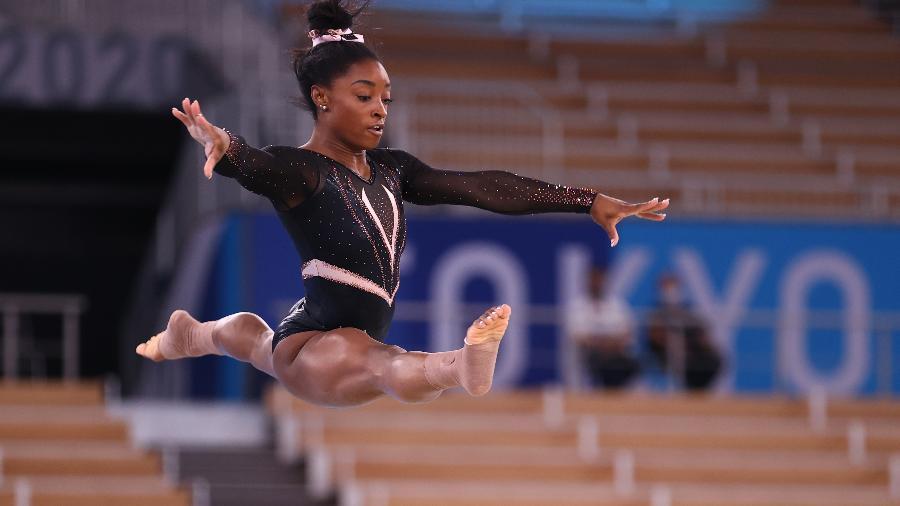 Simone Biles, ginasta dos Estados Unidos, durante treino nas Olimpíadas - REUTERS/Mike Blake