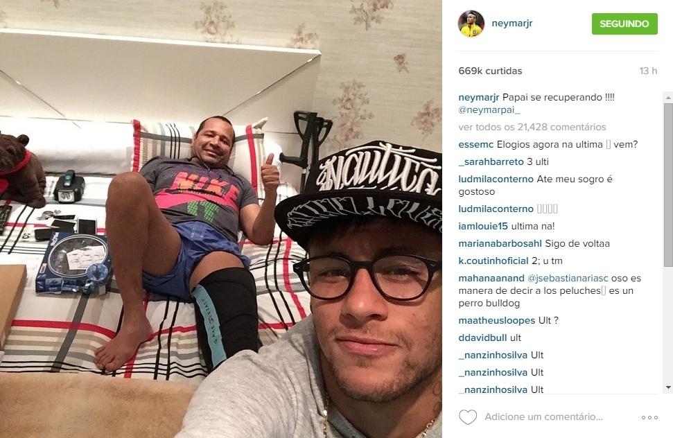 Ausente na Copa América, o que causou surpresa, já que sempre está ao lado do filho em grandes competições da seleção brasileira, Neymar pai também já apareceu nas redes sociais do filho nos últimos dias. Ele se recupera de um problema físico
