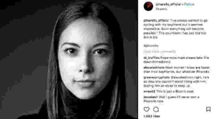 Post no Instagram da empresa de bicicletas Pinarello, que foi acusado de ser sexista - Reprodução/Instagram