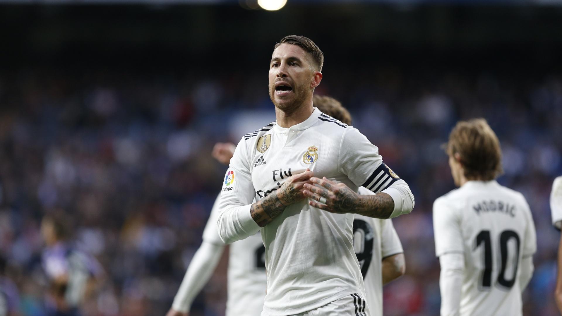 Sergio Ramos, durante jogo entre Real Madrid e Valladolid