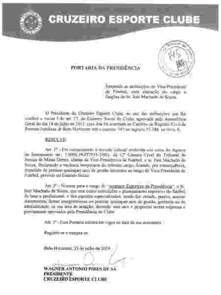 Cruzeiro muda cargo de Itair Machado após determinação de afastamento da justiça - Divulgação