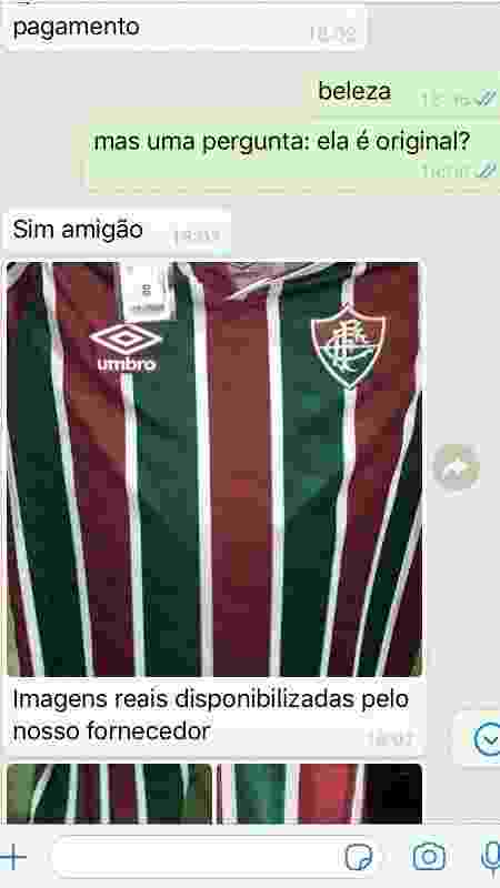 UOL Esporte, sem se identificar, dialogou com um dos que têm anunciado a camisa do Flu na internet - Arquivo pessoal - Arquivo pessoal