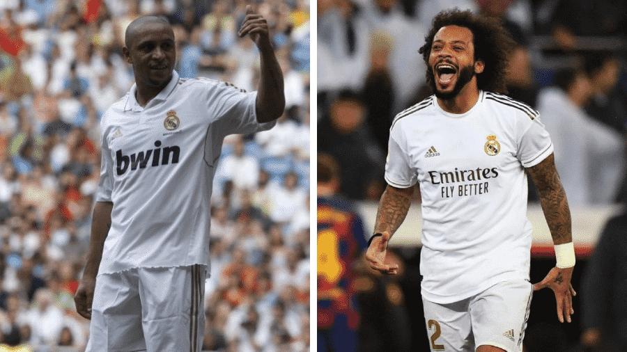 Roberto Carlos e Marcelo no Real Madrid: lendas da lateral esquerda - Víctor Lerena/EFE e Gabriel Bouys/AFP