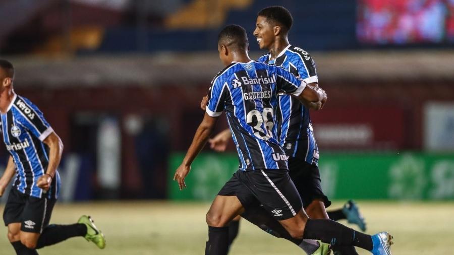Jean Pyerre, do Grêmio, comemora seu gol no clássico contra o Inter pelo Gaúcho - Lucas Uebel/Grêmio FBPA