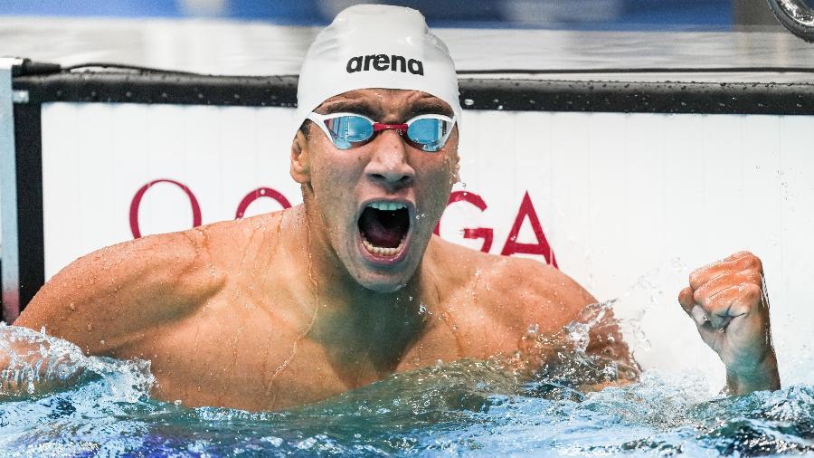 Ahmed Hafnaoui comemora o ouro nos 400m livre nas Olimpíadas de Tóquio-2020 - VCG/VCG via Getty Images