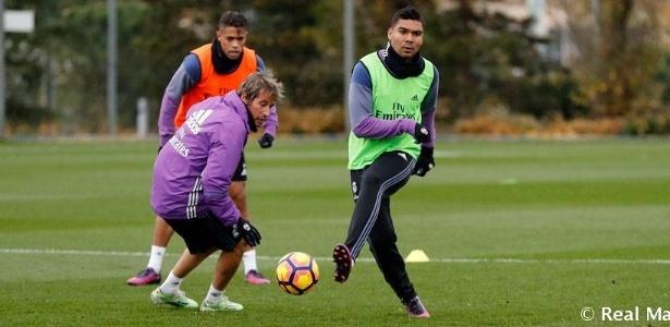 Foi o primeiro treinamento de Casemiro com os jogadores do Real Madrid  - Real Madrid/ Divulgação