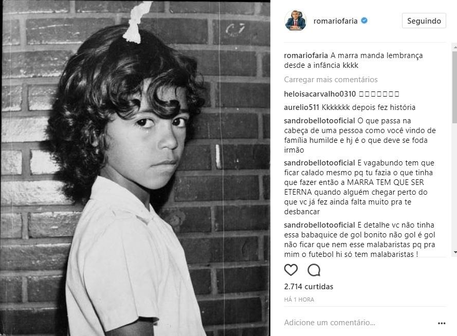 Romário posta foto de quando ainda era criança