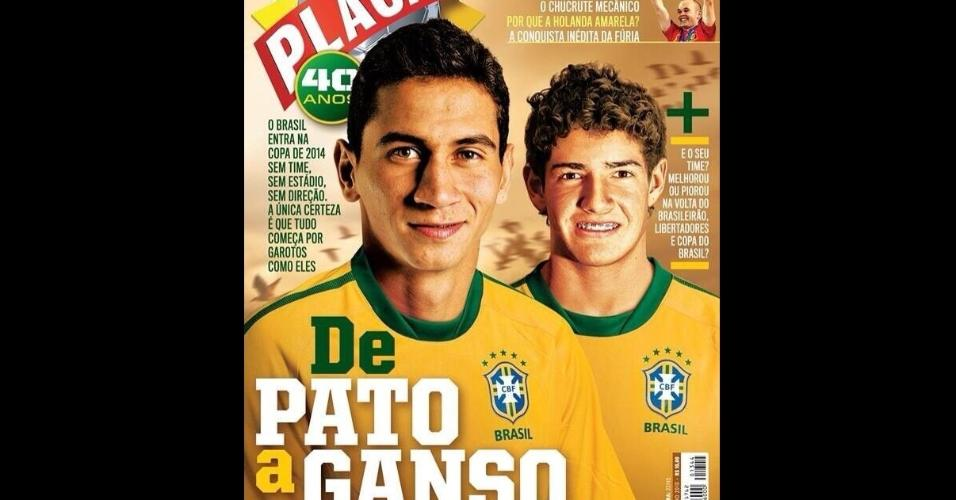 Paulo Henrique Ganso e Alexandre Pato na capa da Revista Placar de julho de 2010