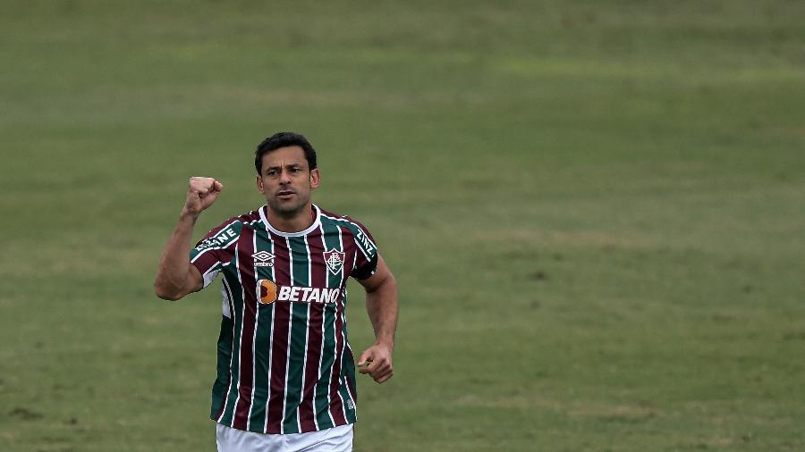 Fred jogador do Fluminense comemora seu gol durante partida contra o Athletico-PR no estadio Raulino de Oliveira pelo campeonato Brasileiro A 2021 - Thiago Ribeiro/Thiago Ribeiro/AGIF