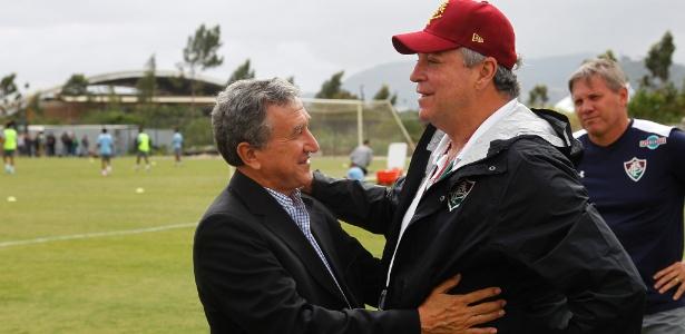 Parreira e Abel Braga confraternizam em treino do Fluminense