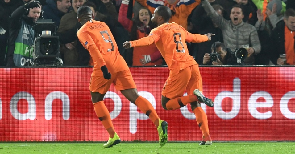 Georginio Wijnaldum comemora Holanda França Liga das Nações
