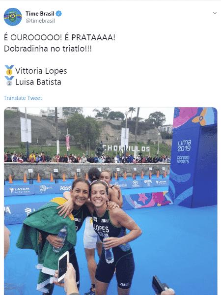 COB inverte medalhas ao parabenizar brasileiras no Twitter - Reprodução - Reprodução