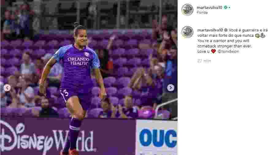 Marta posta mensagem de apoio a namorada - Reprodução