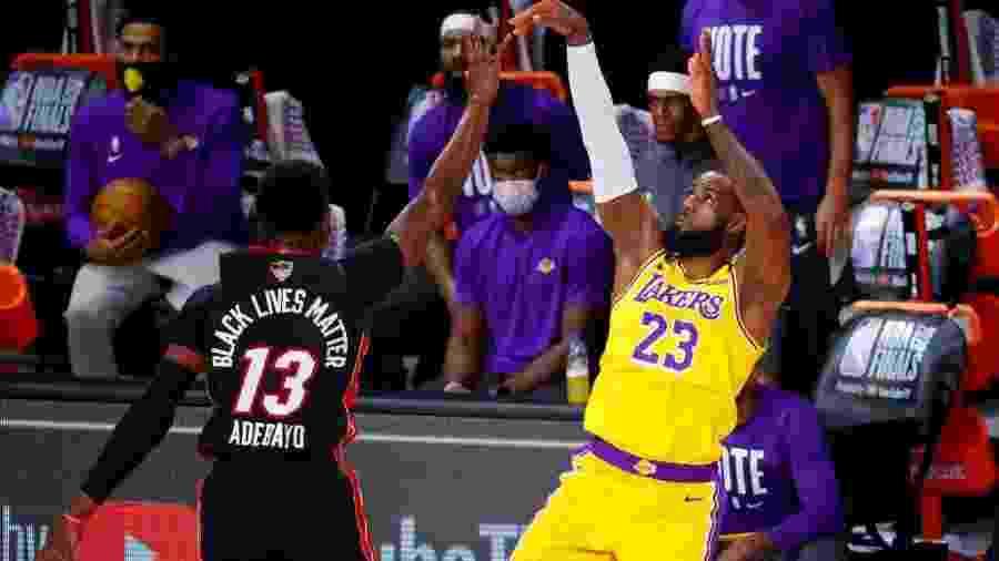 LeBron James em ação na final da NBA entre Lakers e Heat - Divulgação / NBA
