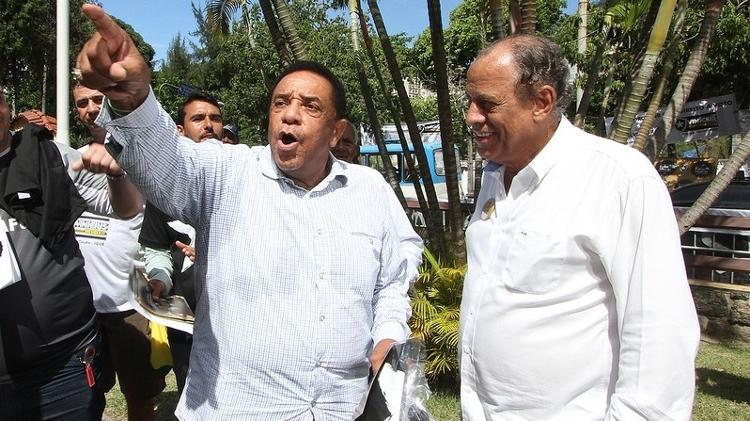 Agnaldo Timóteo com Carlos Alberto Torres, o Capitão do Tri, em General Severiano, sede do Botafogo - Vitor Silva /SSPress - Vitor Silva /SSPress