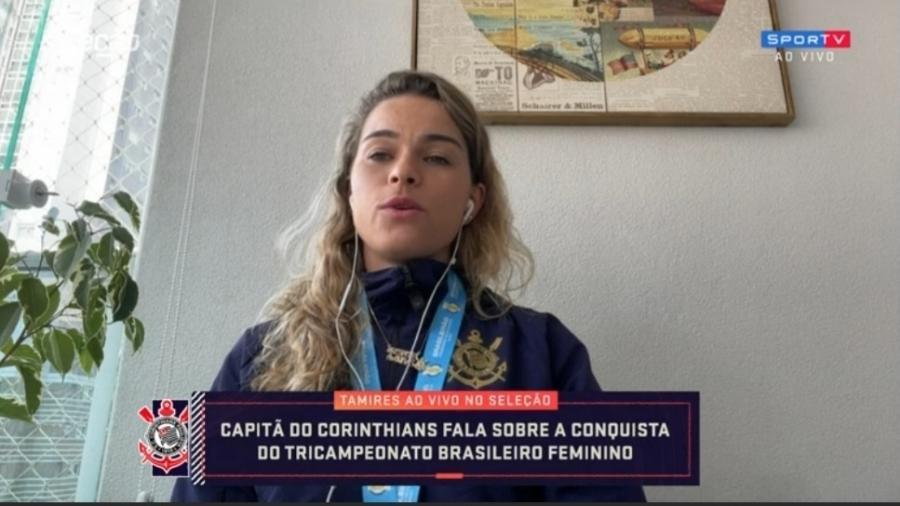 """Tamires elogia estrutura do Corinthians e diz que título sobre Palmeiras tem """"gosto melhor"""" - Reprodução/SporTV"""