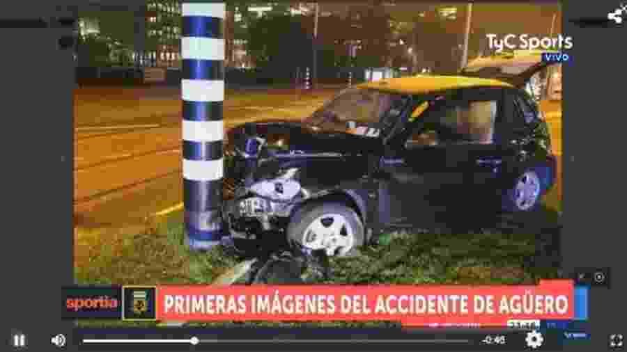 Carro do Agüero após acidente na Holanda - Reprodução