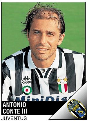 ANTONIO CONTE, técnico do Chelsea, jogou como meia na Juventus entre 1991 e 2004
