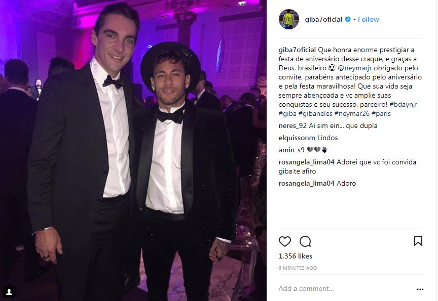 """Giba posta foto e texto em homenagem a Neymar. """"Que honra enorme prestigiar a festa de aniversário desse craque e, graças a Deus, brasileiro"""""""