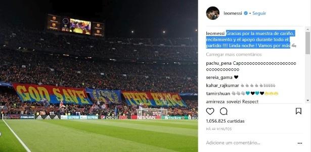 Messi agradece mosaico da torcida do Barça, que o chamou de rei