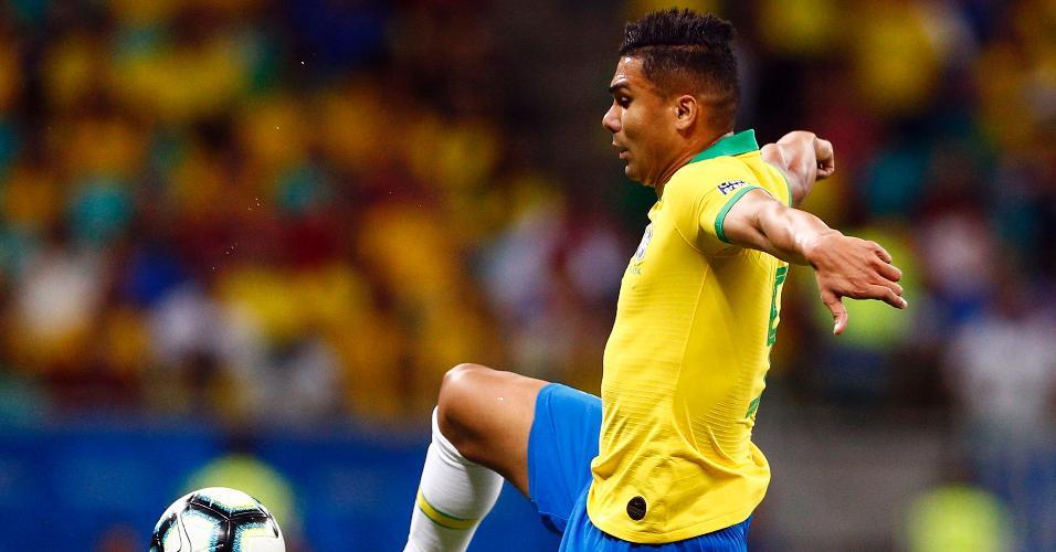 Casemiro, durante partida entre Brasil e Venezuela