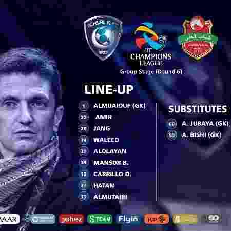 Al Hilal jogaria com nove atletas em campo e dois goleiros no banco - Divulgação/Al Hilal