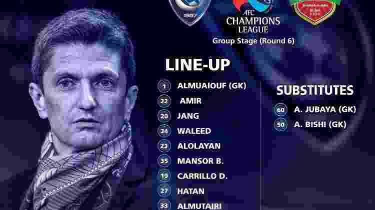 Al Hilal jogaria com nove atletas em campo e dois goleiros no banco - Divulgação/Al Hilal - Divulgação/Al Hilal