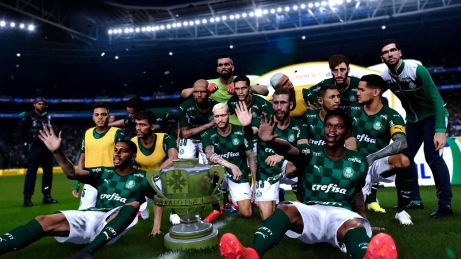 Simulação do título da Copa do Brasil pelo Palmeiras no PES - Reprodução