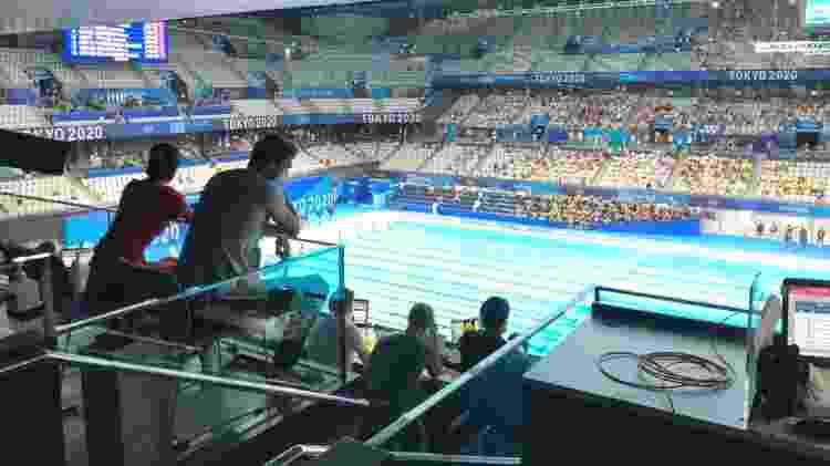 Michael Phelps e esposa Nicole Phelps assistindo à natação nos Jogos Olímpicos - UOL - UOL