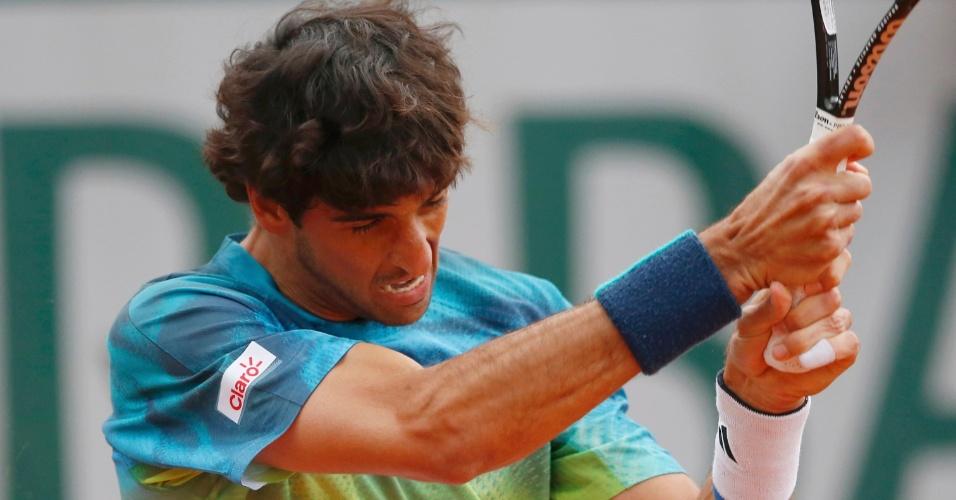 Thomaz Bellucci durante partida contra Richard Gasquet em Roland Garros
