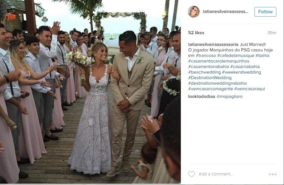 Marquinhos, do PSG, e Carol Cabrino se casam em Trancoso, na Bahia
