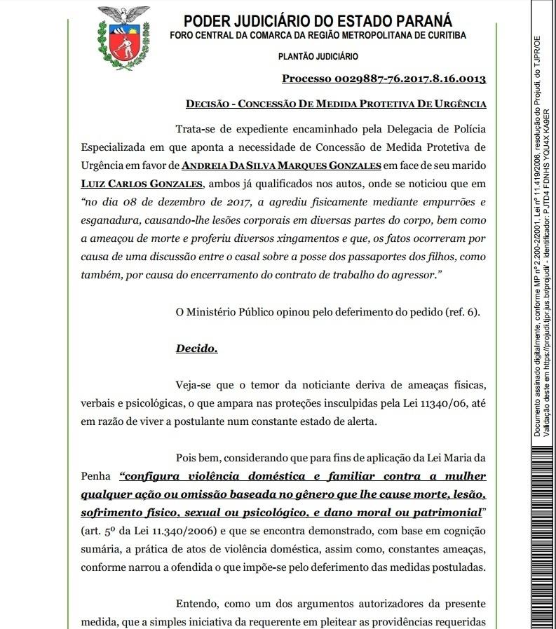 Juiza defere medida protetiva de urgência à mulher de Lucho González