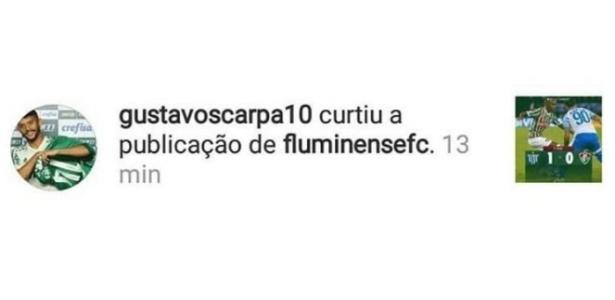 Gustavo Scarpa curte publicação informando eliminação do Fluminense