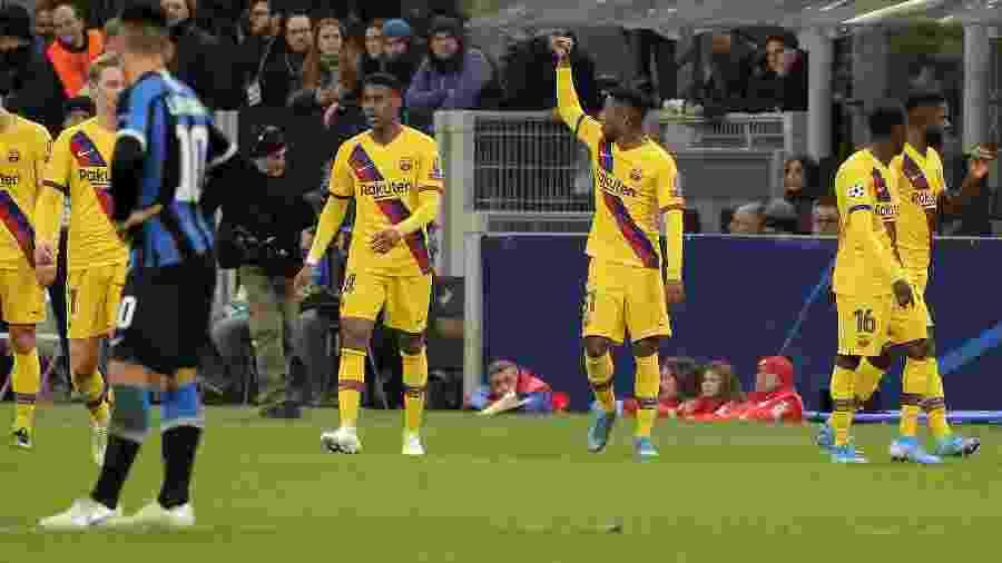 Ansu Fati comemora gol para o Barcelona diante da Inter de Milão pela Liga dos Campeões da Europa - Giuseppe Cottini/NurPhoto via Getty Images